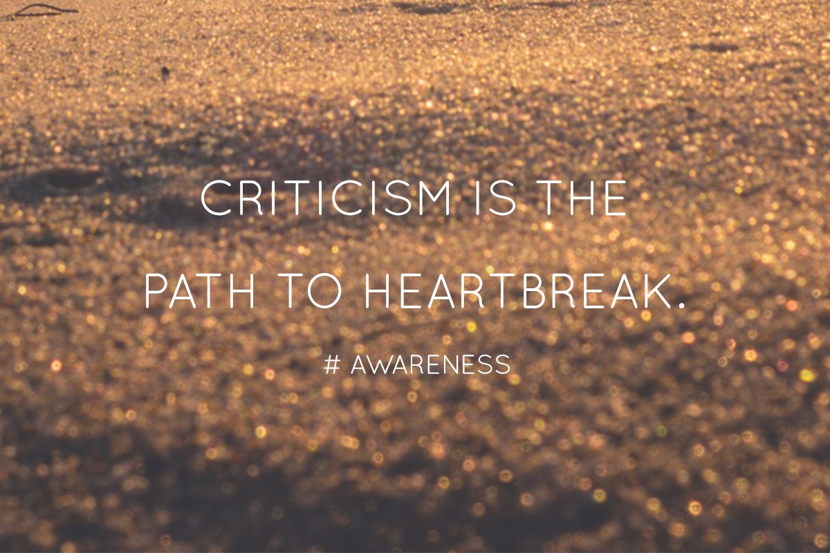 Criticism is the path to heartbreak.  # Awareness